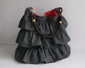 Sale - Grey Cotton Twill Ruffle Bag with Beads Strap - Tote / Handbag / Shoulder bag / Women - JUSTINE
