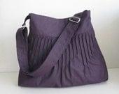 Sale - Blythe - Deep Purple Canvas Lines Multi-Purpose Bag - Shoulder bag, Messenger bag, Tote, Travel bag, Women