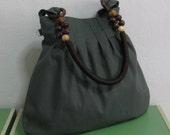 Sale - Gray Canvas Bag With Rope Beads Strap, purse, tote, shoulder bag, unique