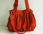 Sale - Burnt Orange Canvas Pumpkin Bag, purse, tote, messenger bag, diaper bag, women