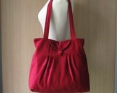 Add 1 more get 10% off - Large Maroon Corduroy Velvet -  Pleats with Flap Bag
