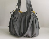 Sale - Grey Canvas Pumpkin Bag, shoulder bag, handbag, tote, stylish, durable