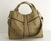 Sale - Water-Resistant Bag in Khaki, diaper bag, messenger, tote, women, stylish - LittleAllison