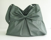 Sale - Grey Water-Resistant Bag, nylon, bow, tote, messenger bag, purse - Martha
