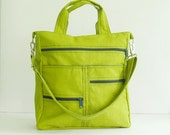 Sale - Apple Green Water-Resistant Nylon Bag - Shoulder bag, Diaper bag, Messenger bag, Tote, Travel bag, Women - MELISSA