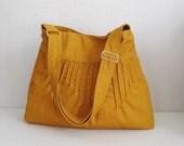 Sale - Mustard Canvas Lines Shoulder bag, Diaper bag, Messenger bag, Tote, Crossbody, Travel bag, Women - BLYTHE
