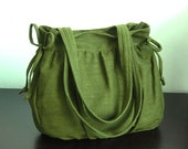 Sale - Forest Green Hemp/Cotton Bag, purse, tote, everyday bag, work bag, shoulder bag,  teens,women - MANDY