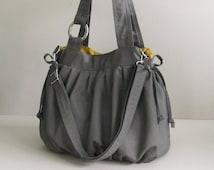 Sale - Grey Canvas Pumpkin Bag, shoulder bag, handbag, tote, stylish, durable
