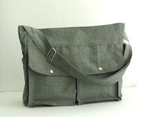 Sale - Grey Water-Resistant Nylon Diaper Bag - Shoulder bag, Messenger bag, Tote, Travel bag, Women, Gym bag - JENNIFER