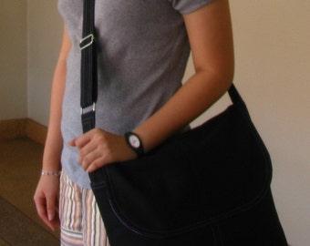 Sale - Black Canvas Messenger Bag - Shoulder bag, Diaper bag, Crossbody bag, Tote, Travel bag, Women, School bag