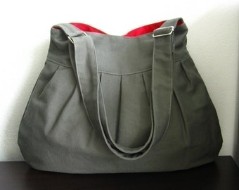 Sale - Grey Canvas Messenger Bag, everyday bag, diaper bag, pleats, stylish, purse