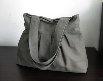 Sale - Grey Canvas Pleats Bag - Double Straps, purse, diaper bag, shoulder bag, tote, everyday bag - April