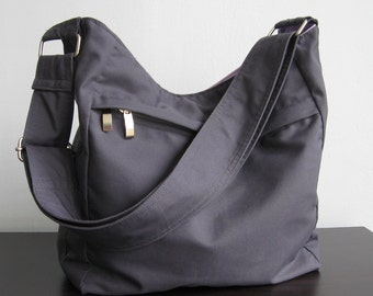 Sale - Grey Cotton Hobo Bag, Purse, Tote, Messenger bag, Diaper bag, Shoulder bag, Women - Faye