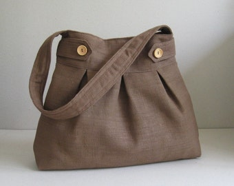 Sale - Brown Hemp/Cotton Bag, shoulder bag, purse, handbag, unique - ARROWS