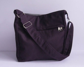 Sale - Deep Purple Canvas Bag - Shoulder bag, Diaper bag, Messenger bag, Tote, Travel bag, Women, Zipper - FAYE