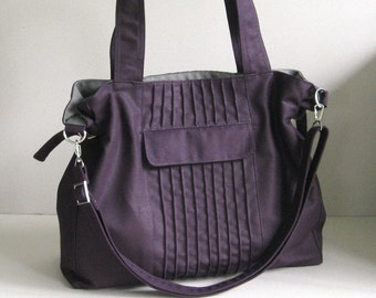 Sale - Deep Purple Canvas Bag, tote, messenger bag, diaper bag, stylish - CARRIE