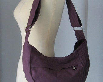 Sale - Plum Canvas Bag - Shoulder bag, Diaper bag, Messenger bag, Tote, Travel Bag - SMILEY
