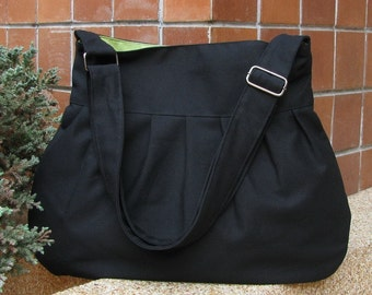 Sale - Black Canvas Bag with Pear Lining, purse, tote, messenger, shoulder bag, everyday bag