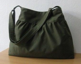 Sale - SALE...Dark Olive Canvas Bag - Shoulder bag, Diaper bag, Messenger bag, Tote, Travel bag, Women