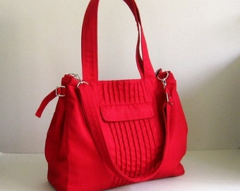 Sale - Red Canvas Bag - Shoulder bag, Diaper bag, Cross body bag, Messenger bag, Tote, Travel bag, Women - CARRIE