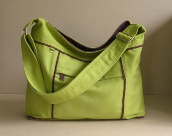 Sale - Pear Canvas Messenger Bag - diaper, tote, purse, zipper pockets, stylish - Kira