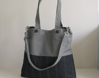 Sale - Black/Grey Canvas Bag, tote, purse, everyday bag, messenger bag, adjustable Strap