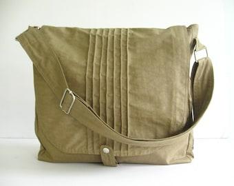 Sale - Khaki Water Resistant Messenger Bag, school bag, tote, cross body bag, practical, stylish - Tiffany