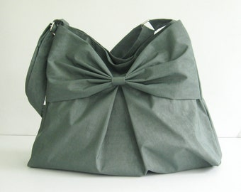 Sale - Grey Water-Resistant Bag, nylon, bow, tote, crossbody bag, messenger bag, purse, shoulder bag - Martha