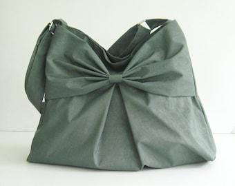 Sale - Grey Water-Resistant Bag, nylon, bow, tote, messenger bag, purse - Martha