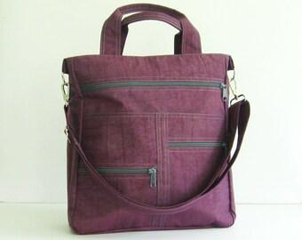 Sale - Deep Plum Water-Resistant Messenger Bag, school, laptop, diaper, travel, tote, shoulder bag - Melissa