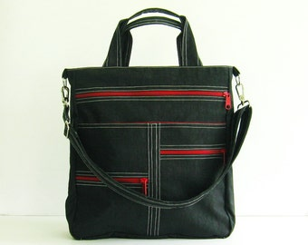Sale - Black Water-Resistant Bag, tote, messenger, crossbody, diaper bag, tote, diaper bag, zipper pockets - MELISSA