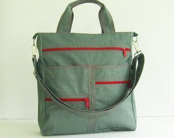 Sale - Grey Water-Resistant Nylon Bag, tote, handbag, shoulder bag, messenger, school bag - Melissa