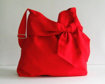 Sale - Red Cotton Twill Crossbody Bag, diaper bag, messenger, tote, bow, adjustable strap - Ninny