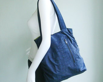 Sale - Navy Blue Water Resistant Nylon Bag - Shoulder bag, Diaper bag, Messenger bag, Tote, Travel bag, Women, Purse - JANE