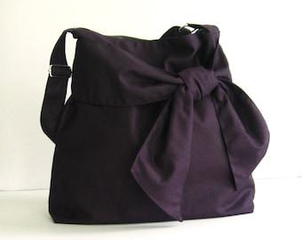 Sale - Deep Purple Crossbody Canvas Bag, tote, handbag, shoulder bag, bow, messenger bag, stylish - Ninny