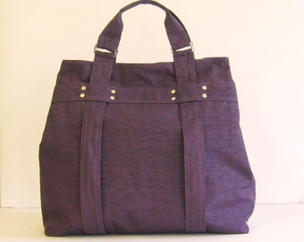 Sale - Deep Plum Water-Resistant Tote - Shoulder bag, Diaper bag, Messenger bag, Tote, Travel bag, Women - EMILY