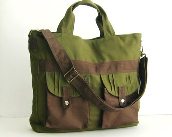 Sale - Dark Olive Canvas All purpose Bag - Shoulder bag, Diaper bag, Messenger bag, Tote, Travel bag, Women - SUNNY