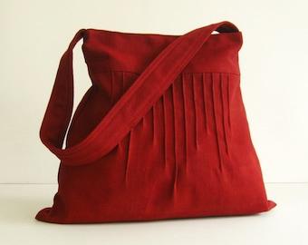Sale  - Deep Red Hemp/Cotton Lines Bag - Shoulder bag, Diaper bag, Messenger bag, Tote, Travel bag, Women, Purse