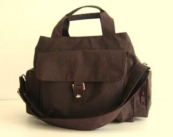 Sale - Water Resistant Nylon Bag - Messenger, Diaper, Tote, zipper closure, 3 compartments - PARIS