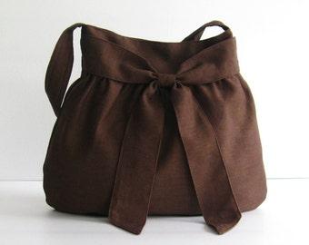 Sale - Linen Bag - Shoulder bag, Diaper, Tote, Travel, Women, Stylish, Bow, Purse - AMY