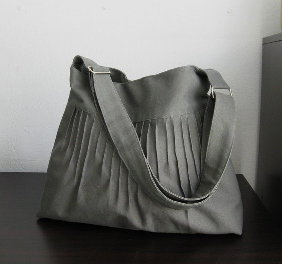 Grey Canvas Lines Multi-Purpose Bag with Extra Pockets and Adjustable Strap