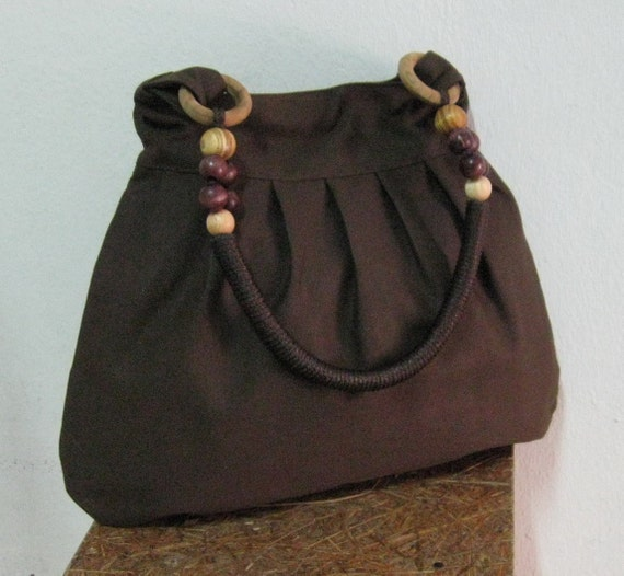 Sale - Choco Brown Canvas Bag with Rope Beads Strap - Shoulder bag, Messenger bag, Tote, Travel bag, Women