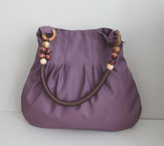 Sale - Plum Canvas Bag With Rope Beads Strap, shoulder bag, handbag, tote, purse, unique, durable