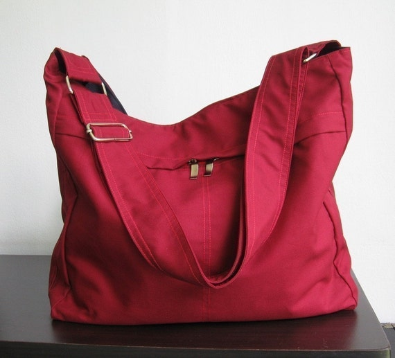 Sale - Maroon Cotton Twill Hobo Bag with Adjustable Strap, messenger bag, diaper bag, tote, handbag