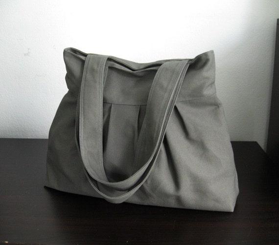 Sale - Grey Canvas Pleats Bag - Double Straps, purse, diaper bag, everyday bag - April