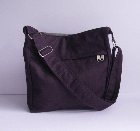 Sale - Deep Purple Canvas Bag - Shoulder bag, Diaper bag, Messenger bag, Tote, Travel bag, Women, Zipper - FAYE