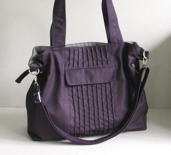 Sale - Deep Purple Canvas Bag, tote, messenger bag, diaper bag, stylish - CARRIE