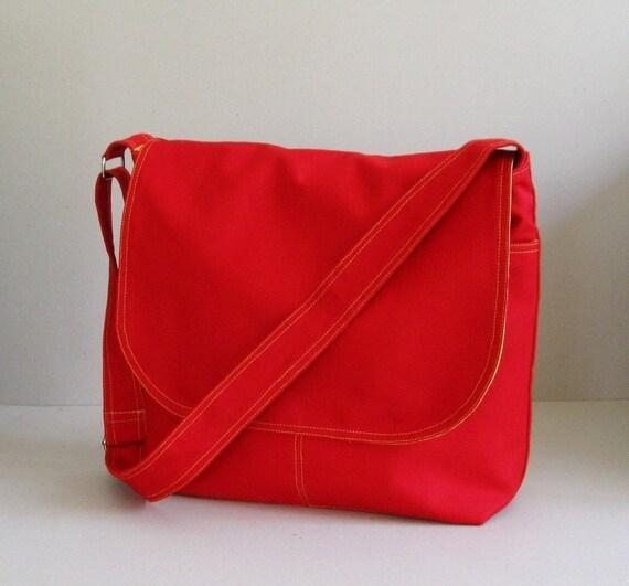 Sale - Red Cotton Twill Messenger Bag, tote, shoulder bag, school bag, travel bag, purse, overnight