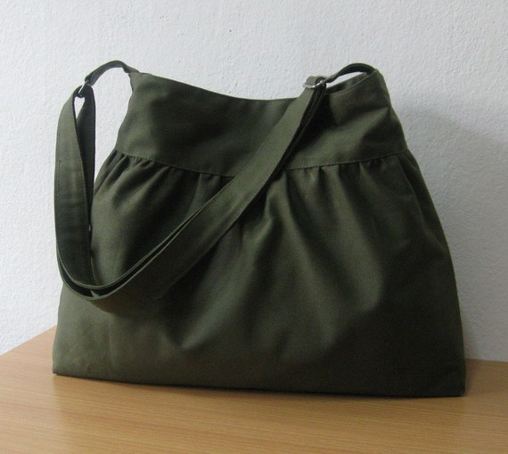 Sale - SALE...Dark Olive Canvas Bag - Shoulder bag, Diaper bag, Messenger bag, Tote, Travel bag, Women