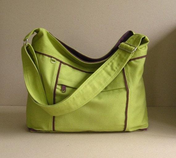 Sale - Pear Canvas Messenger Bag - diaper, tote, purse, zipper pockets, stylish - Kira